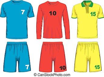 vector, futbol, diferente, conjunto, uniform.