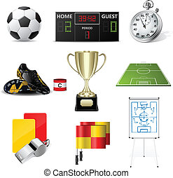 vector, futbol, iconos