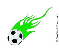 vector, futbol, llamas, pelota