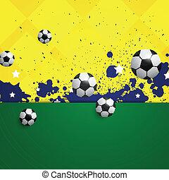 vector, futbol, plano de fondo, con, brasil, colores