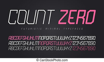 Vector futuristic display font design, alphabet, character set