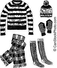 vector, géneros de punto, imagen, conjunto, lana