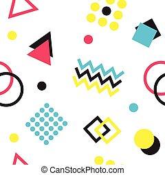 vector., géométrique, pattern., memphis, halftone, formes, forme, différent, coloré, seamless