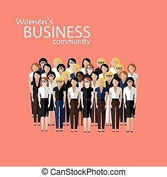 vector, g, community., vrouwen, plat, handel illustratie, groot