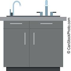 vector, gabinete, fregadero, icono, ilustración, cocina, plano, aislado