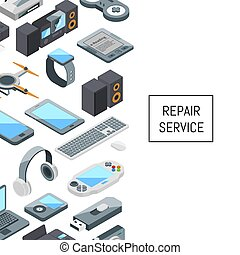 Vector gadgets icons with place for text illustration
