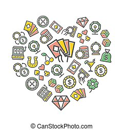 Vector gambling and casino thin line icons in heart shape design concept. Illustration for presentations on white background