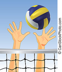 volleyball - vector game of volleyball with the ball and net...