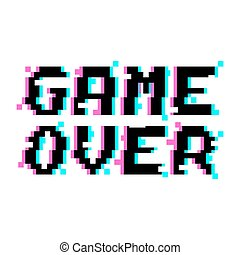 Vector game over pixel glitch - Vector game over phrase in...