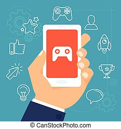 Vector gamification concept - digital device with...