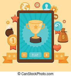 vector, gamification, concepto, -, logro, iconos