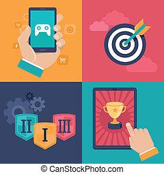 vector, gamification, conceptos, -, plano, app, iconos