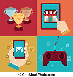 Vector gamification concepts - digital device with touchscreen and game interface on it with award and achievement icons on background