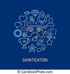 Vector gamification concepts - line icons and badges