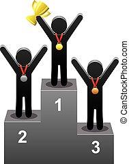 vector, ganadores, en, el, podio