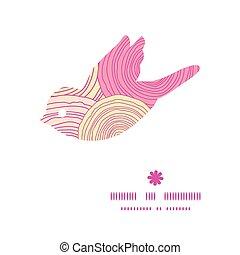 vector, garabato, círculo, textura, pájaro, silueta, patrón, marco