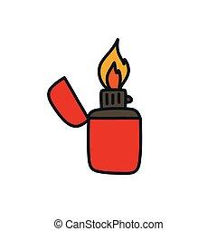 vector, garabato, color, encendedor, icono, línea, ilustración