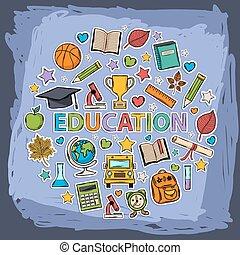 vector, garabato, educación, conjunto