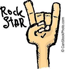 vector, garabato, señal de mano, rollo piedra n, música