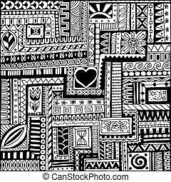 vector., garabato, seamless, negro, retro, plano de fondo, étnico, patrón floral, blanco, asiático