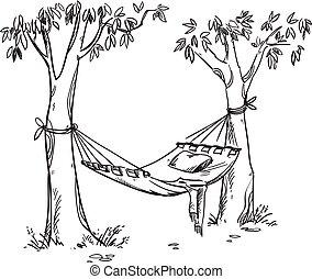 vector, garden., dibujo, línea, acogedor, hamaca