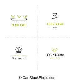 Vector garden logo templates set. Colored isolated elements.