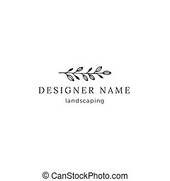 Vector garden premade logo template, a branch with leaves....