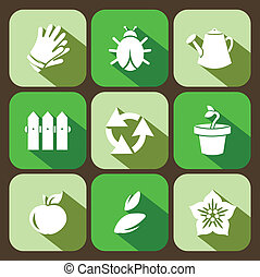 Vector gardening flat icons set, 9 buttons