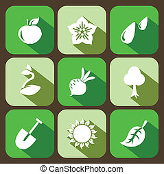 Vector gardening flat set, 9 icons