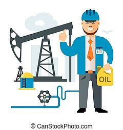 Vector Gas and Oil Industry. Flat style colorful Cartoon...