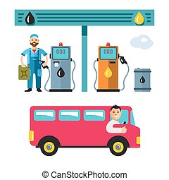 Vector Gas Station. Flat style colorful Cartoon illustration.