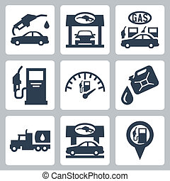 Vector gas station icons set