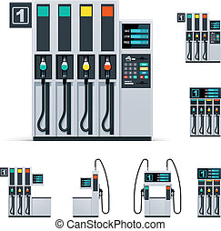 Vector gas station pumps set - Set of the different gas...