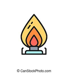 Vector gas stove, oil burner flat color line icon.
