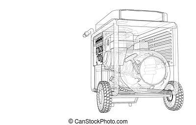 vector, gasolina, contorno, generador, portátil