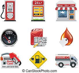 vector, gasolinera, conjunto, icono