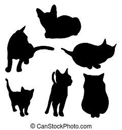 vector, gato, silueta, conjunto