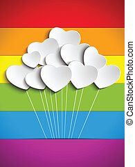 Gay Flag Hearts Balloons Background - Vector - Gay Flag...