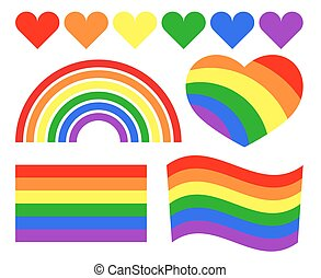 Vector gay LGBT rainbow symbols