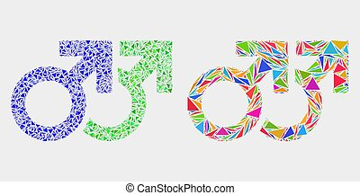 Vector Gay Pair Symbol Mosaic Icon of Triangle Items