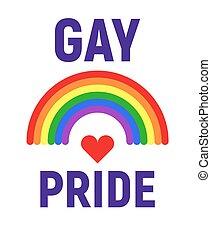 Vector gay pride LGBT rights card. Rainbow design symbol...
