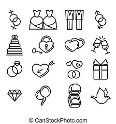 Vector gay wedding icons set white