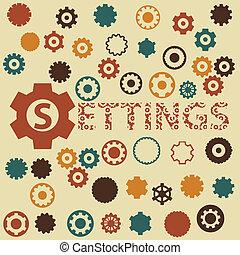 Vector gear and cogwheels pattern. seamless