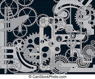 vector gear - Elements of mechanism on a black background