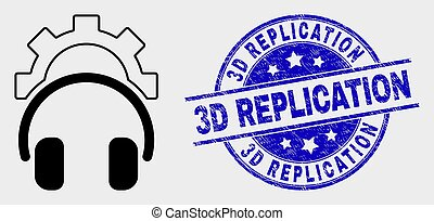 Vector Gear Headphones Icon and Scratched 3D Replication Stamp Seal