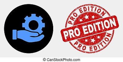 Vector Gear Service Hand Icon and Scratched Pro Edition Seal...