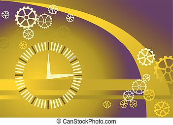 Vector gears and clock background