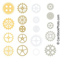 Vector gears collection. Isolated on white