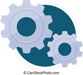 Vector Gears Flat Round Icon