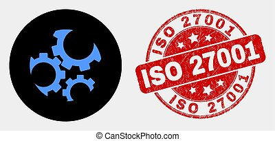 Vector Gears Icon and Grunge ISO 27001 Seal